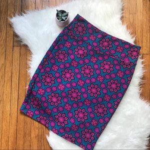 LuLaRoe Cassie Skirt - Teal & Pink - SZ L - EUC!